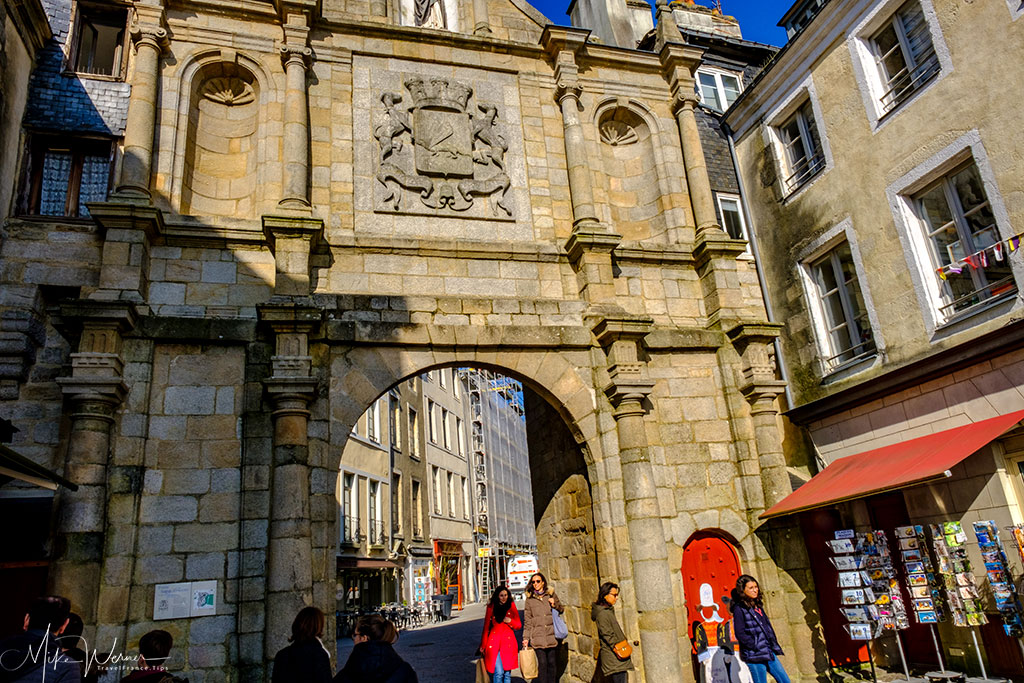 Harbour side view of the Saint-Vincent Gate alongside the ramparts of Vannes, the main gate into the harbour