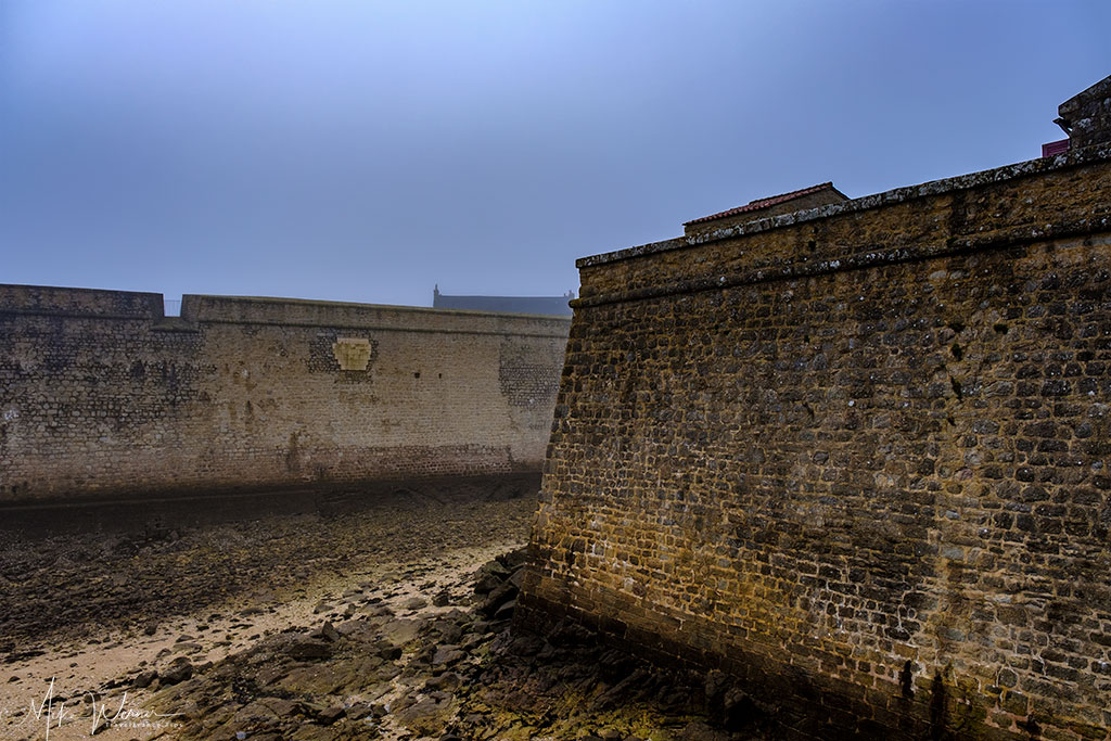 Deep and wide moat at the citadel of Port-Louis