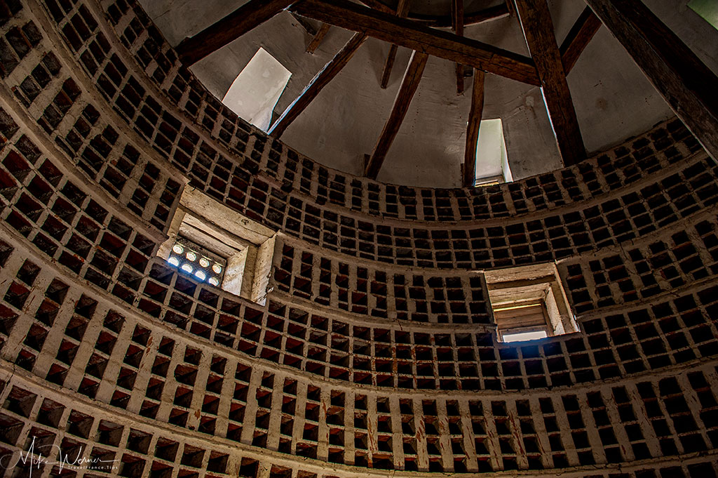 Inside the dovecot of the castle of Epoisses