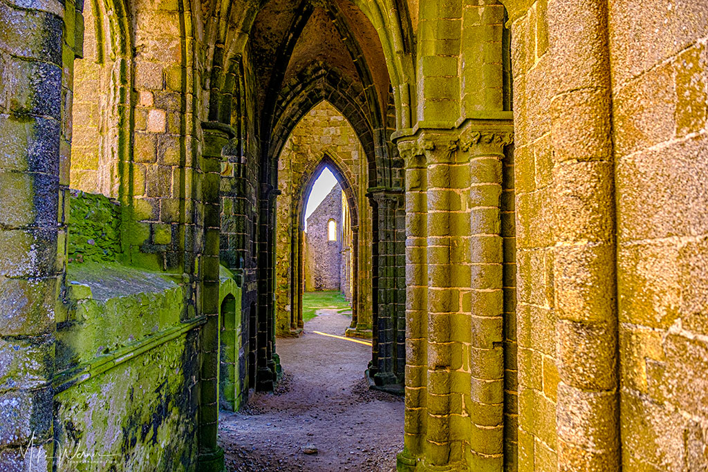Hallways of the Saint-Mathieu de Fine-Terre abbey at Pointe saint-Mathieu in Brittany