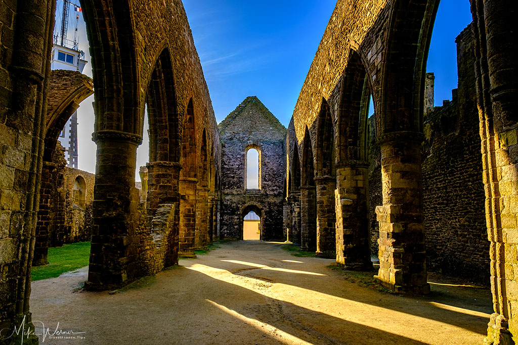 Main area of the Saint-Mathieu de Fine-Terre abbey at Pointe saint-Mathieu in Brittany