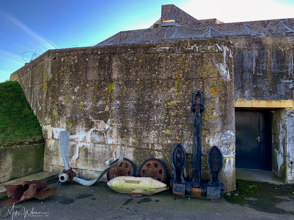 Side entrance of the WWII German bunker at the 39-45 Memories Museum at Pointe Saint-Mathieu in Brittany