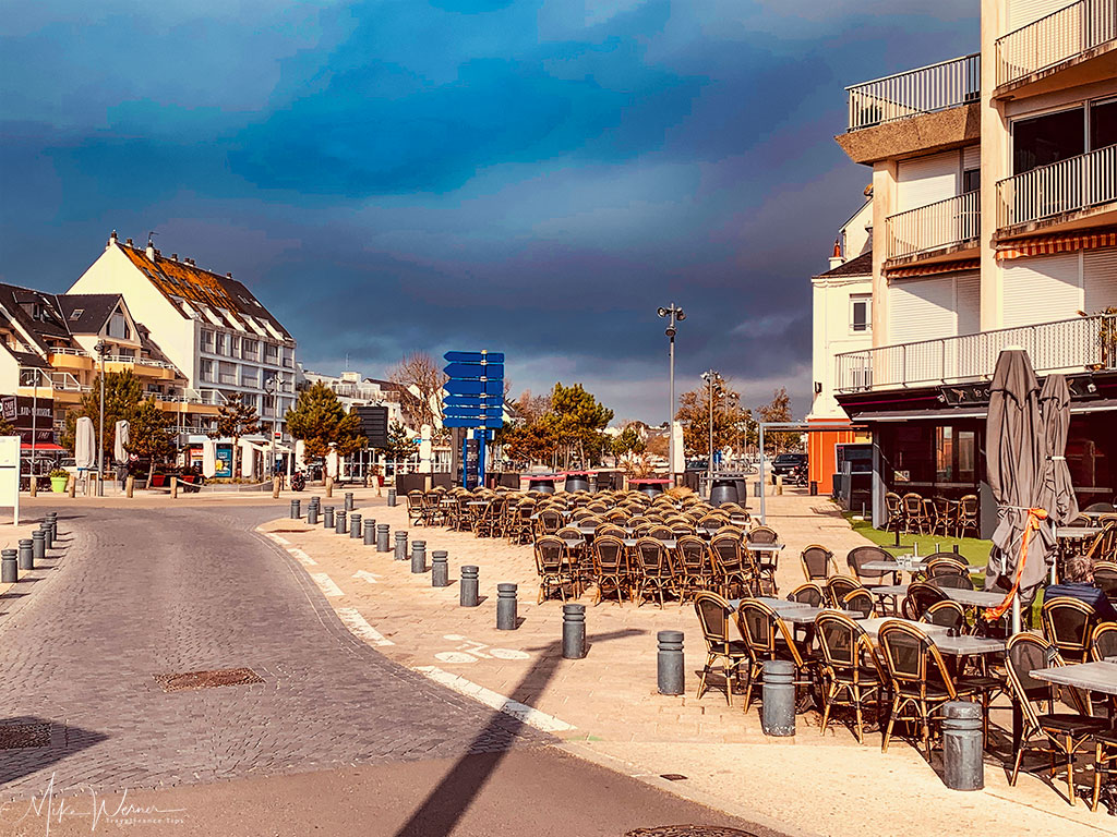 Cafe terraces in Quiberon, Brittany