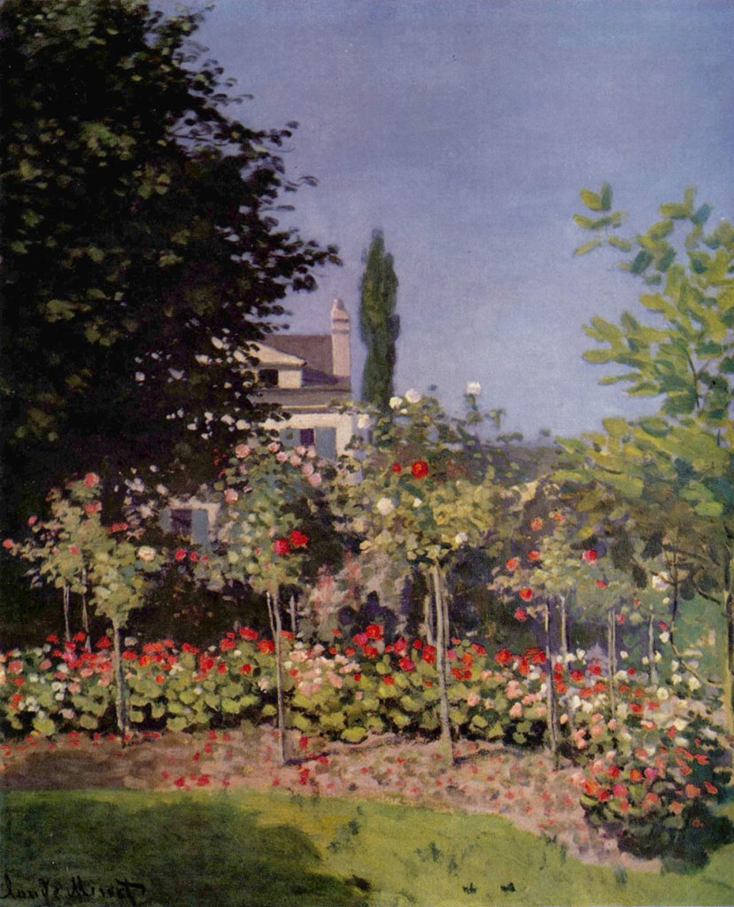 1866 Claude Monet - Blossoming Garden, Sainte-Adresse