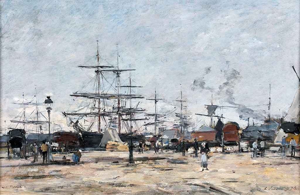 1875 Eugene Boudin - The quays in Le Havre