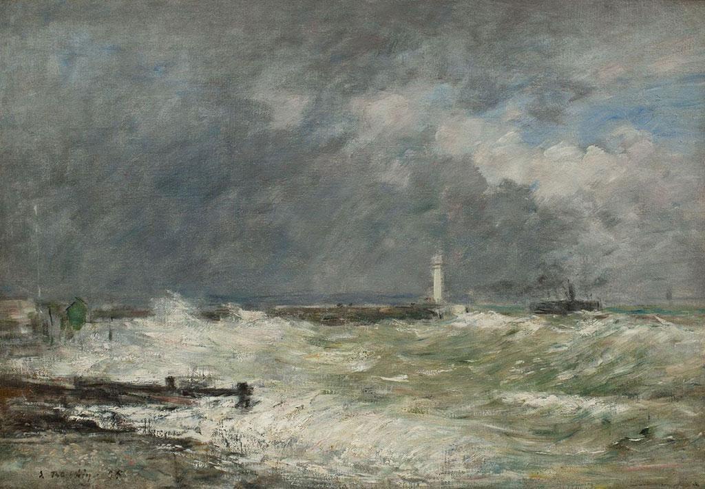 1895 Eugene Boudin - Entrance during a Storm