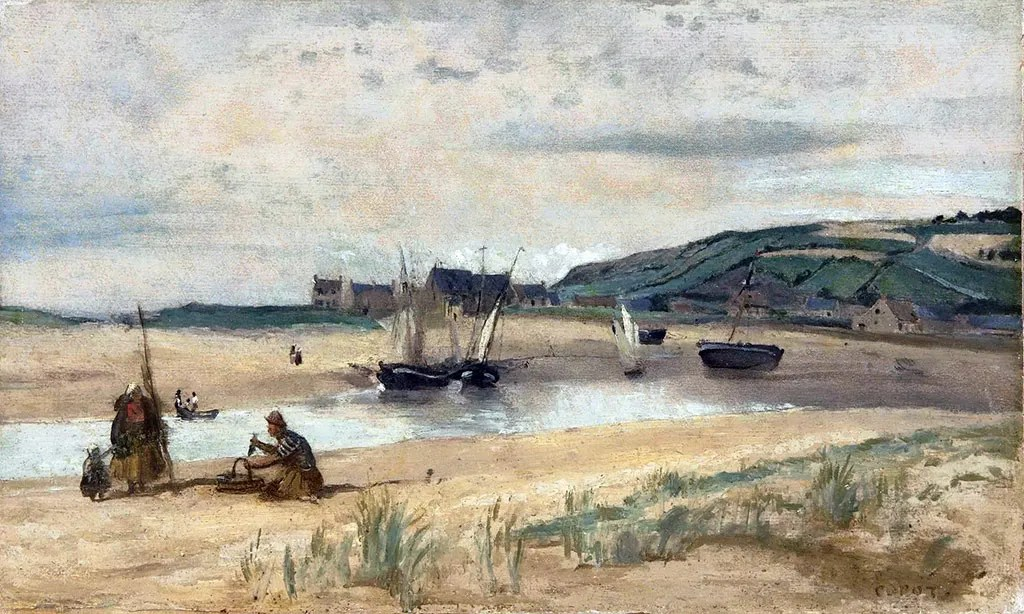 1830 Jean-Baptiste Corot - Sandy beach with Boats and Fishermen, Sainte-Adresse