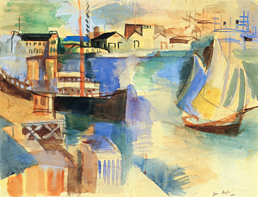 1924 Jean Dufy - The La Manche Basin at Le Havre seen from the Southampton Dock