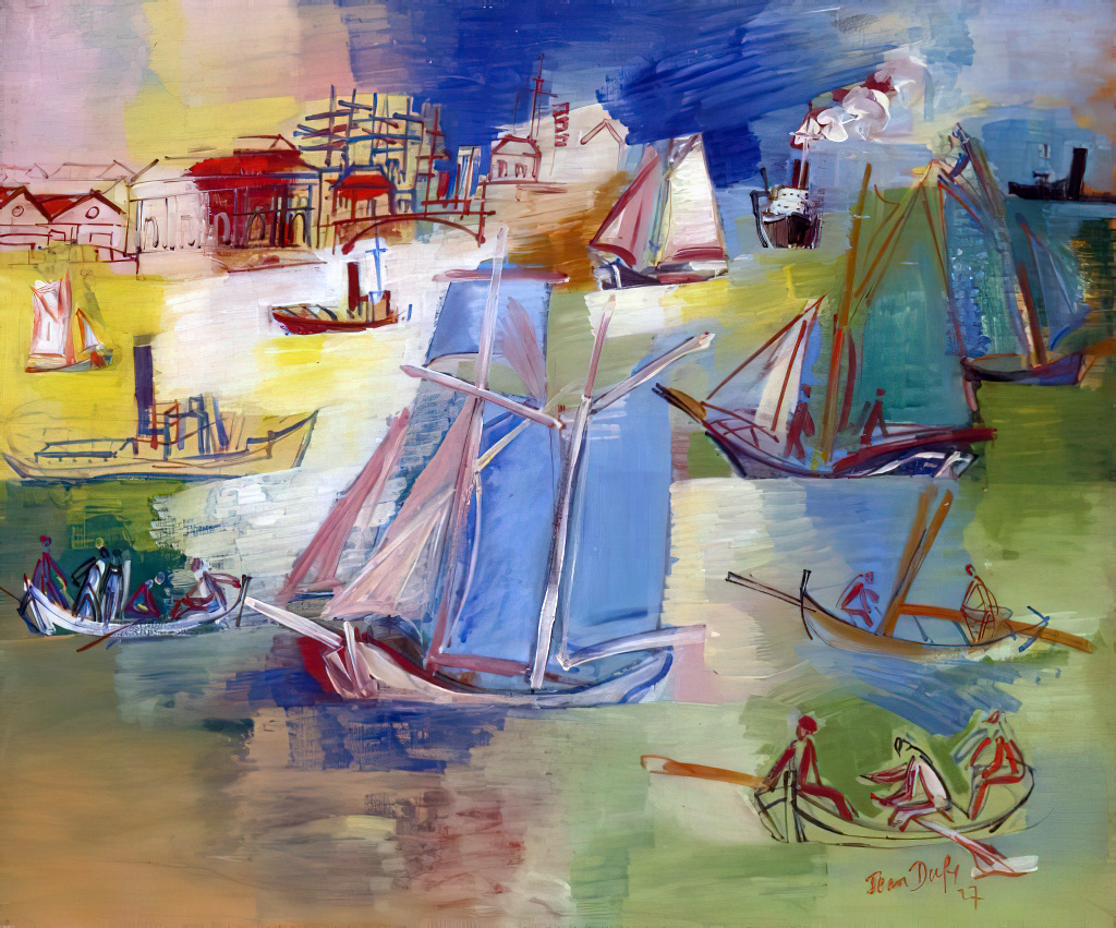 1927 Jean Dufy - Sailing Boats in the Front Port of Le Havre