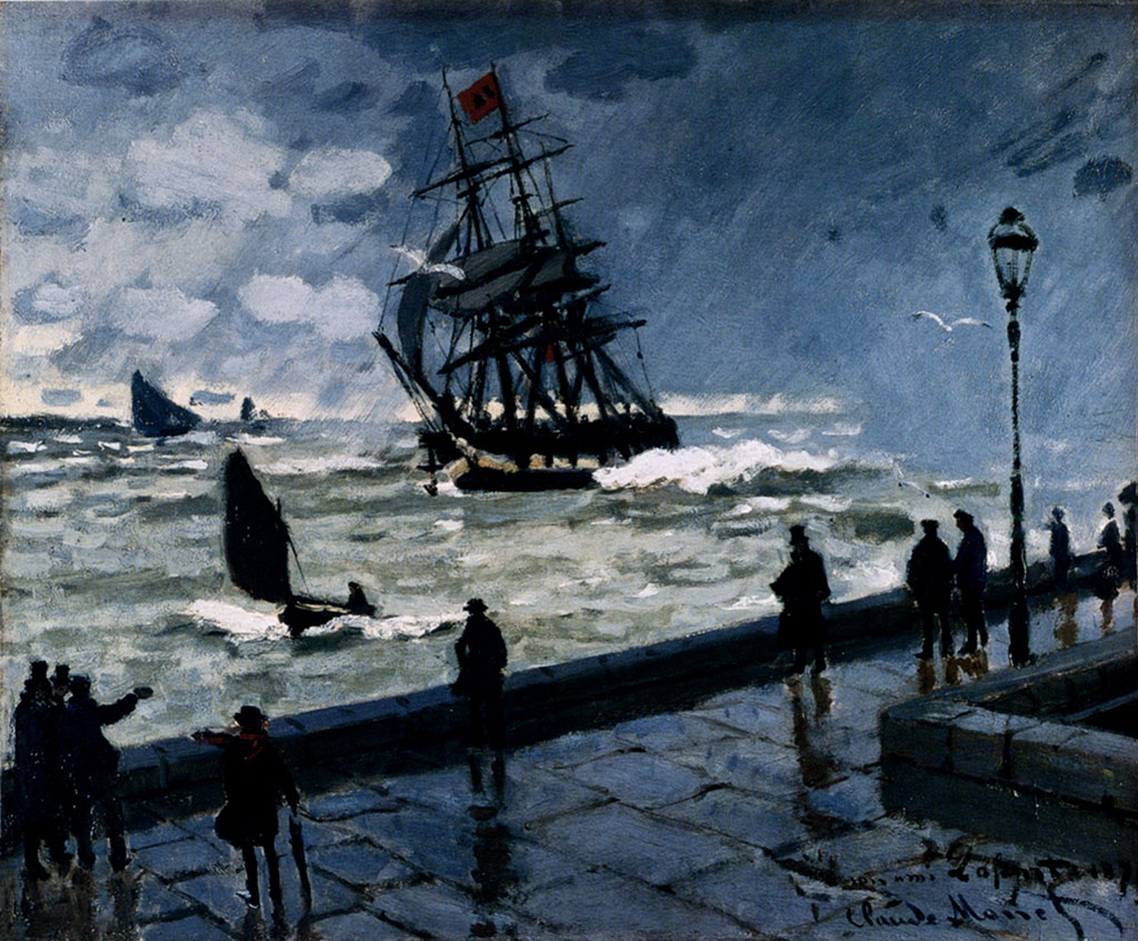 1867 Claude Monet - The Jetty at Le Havre, Bad Weather