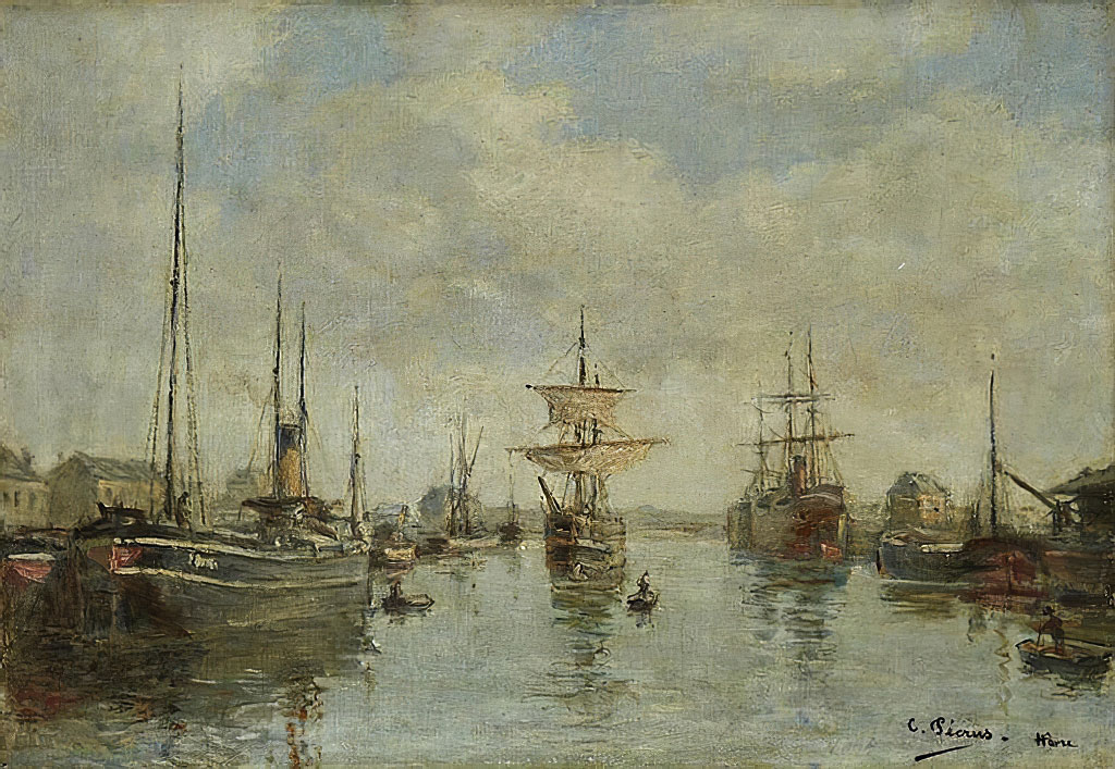 ???? Charles Pecrus - Boats in the Harbour of Le Havre