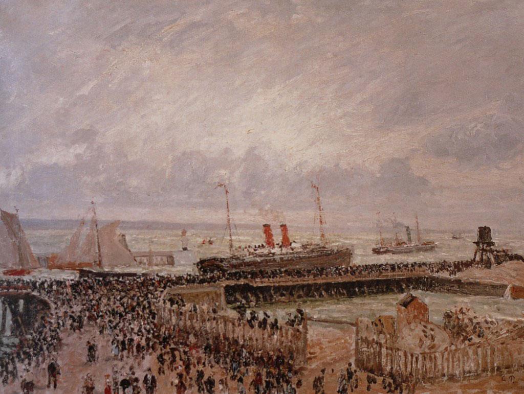 Camille Pissarro 1903 - The Jetty, Departure of the Transatlantique La Lorraine