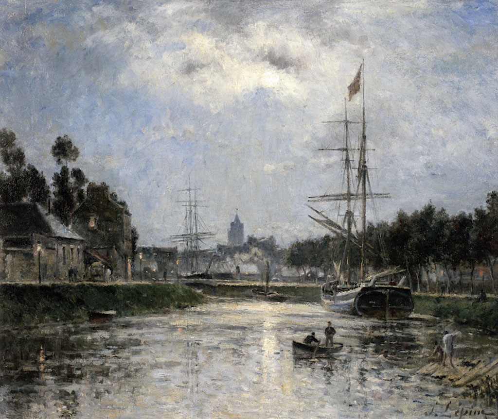 1872 Eugene Boudin - Caen, the Saint-Pierre Harbor and the Abbaye aux Dames, Effect of Moonlight