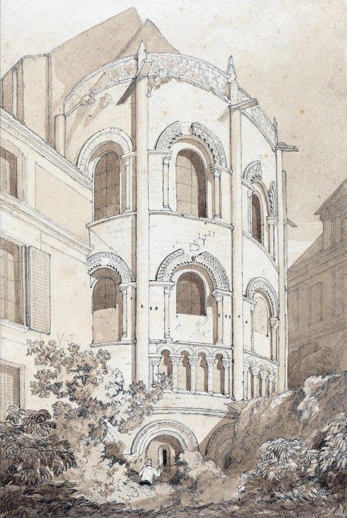 1817 - John Cotman - The East End of Holy Trinity Church, Caen