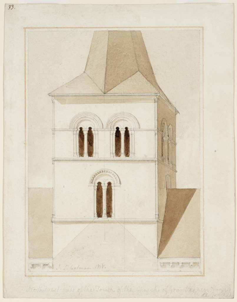1818 John Cotman - North West View of the Tower of the Church of Graville, Near Havre de Grace