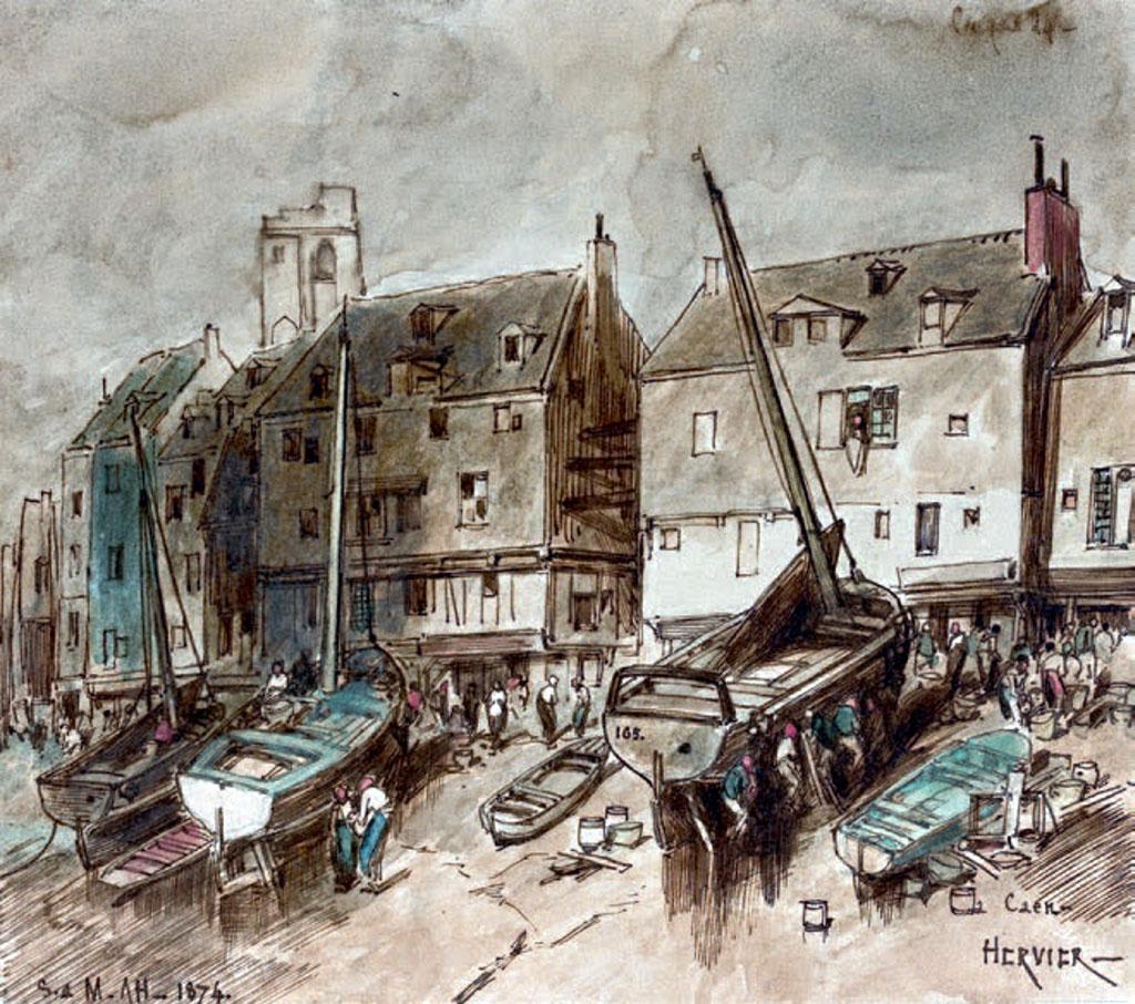 1874 - Louis Hervier  - Caen, the Harbour