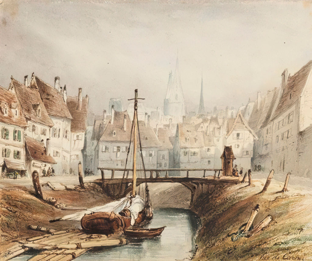 Eugene Isabey 1857-View-of-Caen