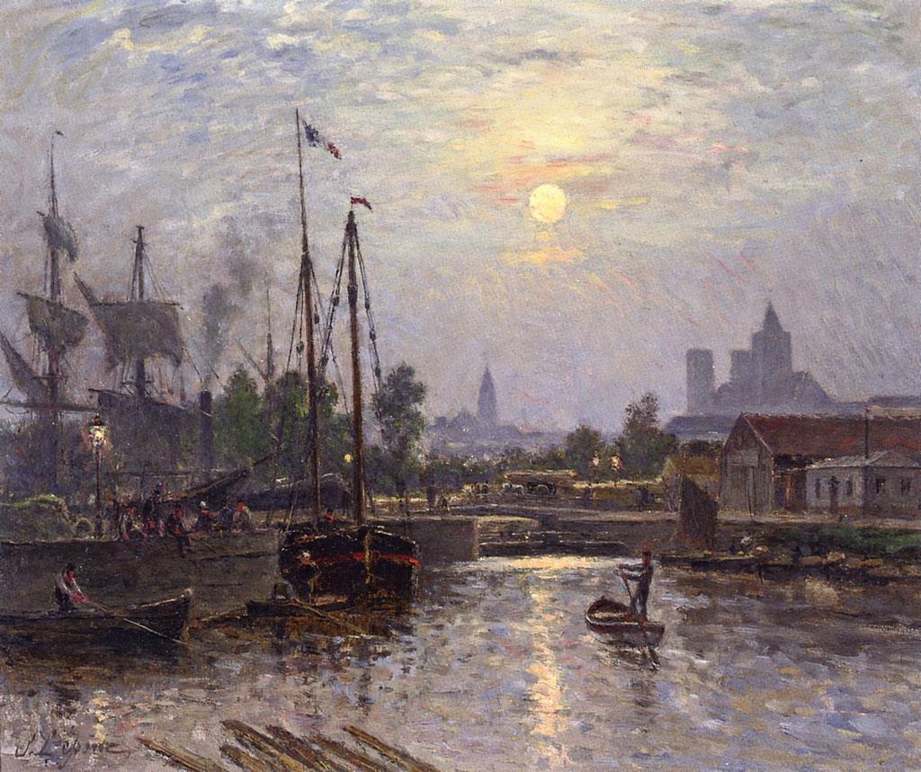 1872 Stanislas Lepine - Caen along the Orne river, Cours Caffarelli, Moonlight