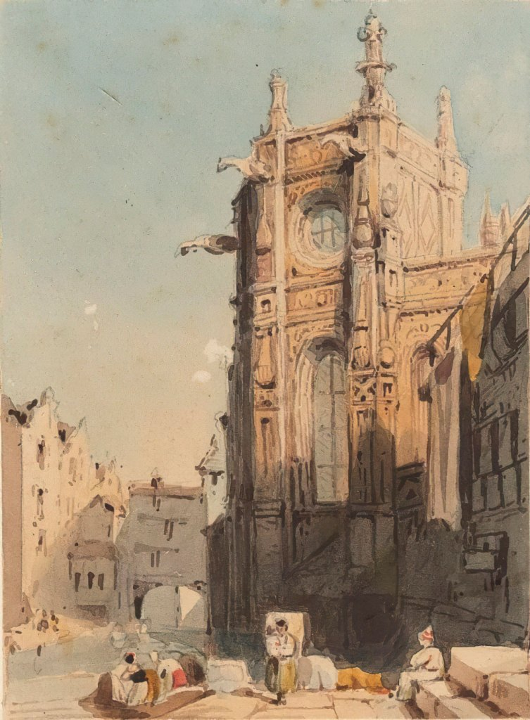 1830 Samuel Prout - At the foot of the Saint-Pierre church, Caen
