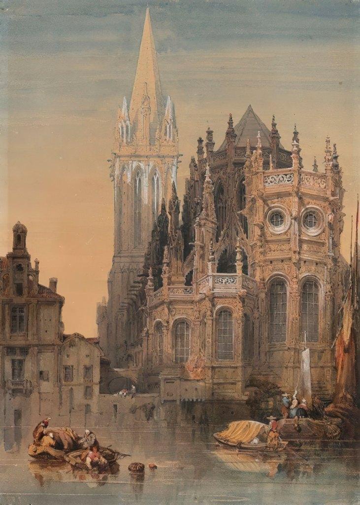 David Roberts 1830 - At the foot of the Saint-Pierre de Caen church