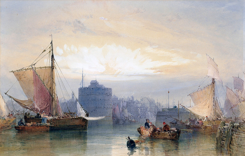 1877 - Callow - Fishing boats waiting for the tide,Port of Havre, sunrise