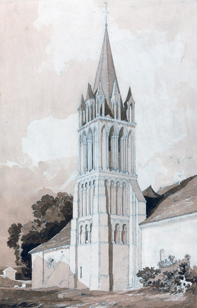 1820 - John Sell Cotman - South-East View of the Church of Ifs, Near Caen, Normandy
