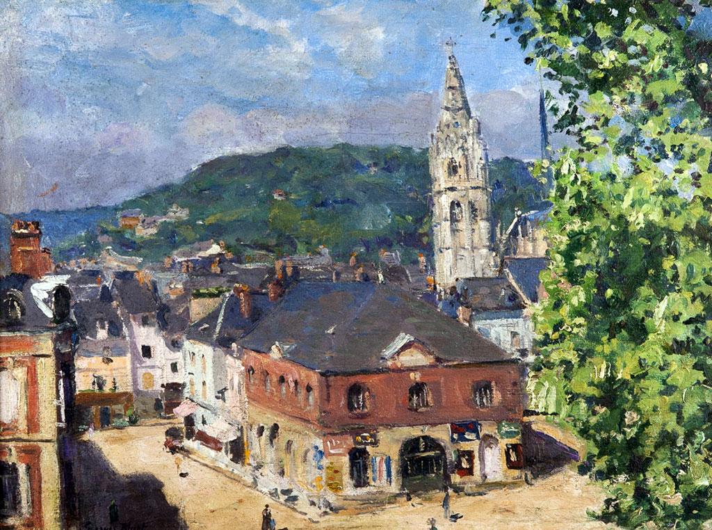 ???? - George Binet - The Place de Halles at Caudebec