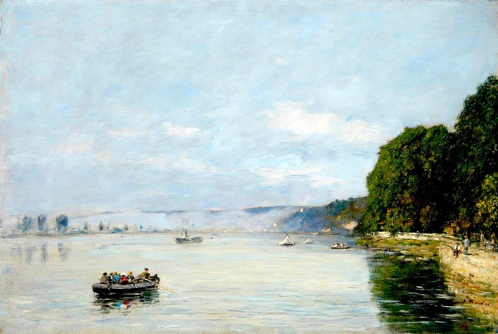 1889 - Eugene Louis Boudin - Caudebec-en-Caux, Boats on the Seine