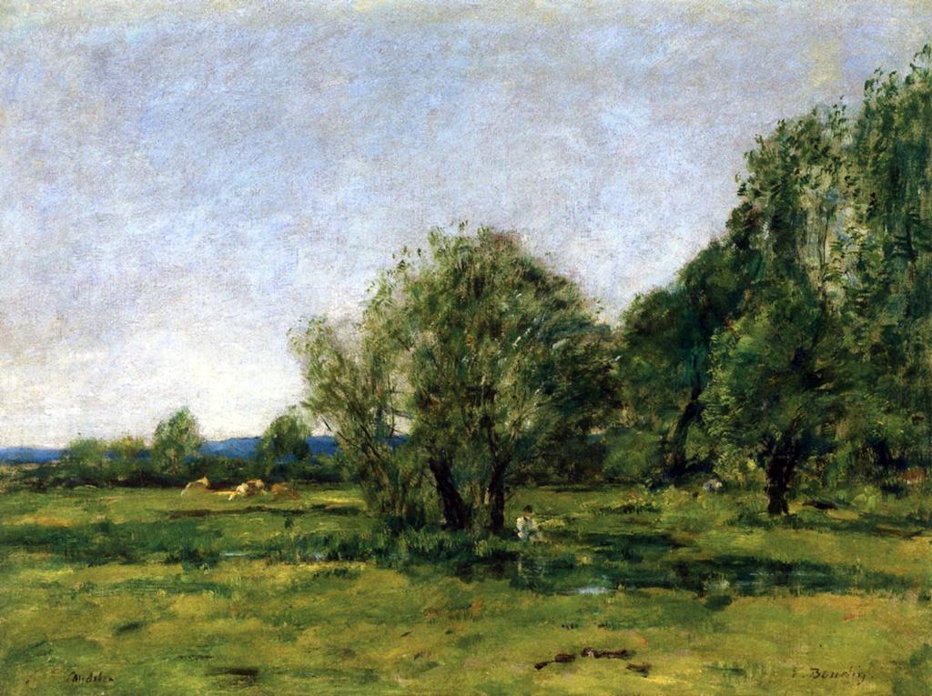 1889 - Eugene Louis Boudin - Caudebec-en-Caux, Pond and Fisherman