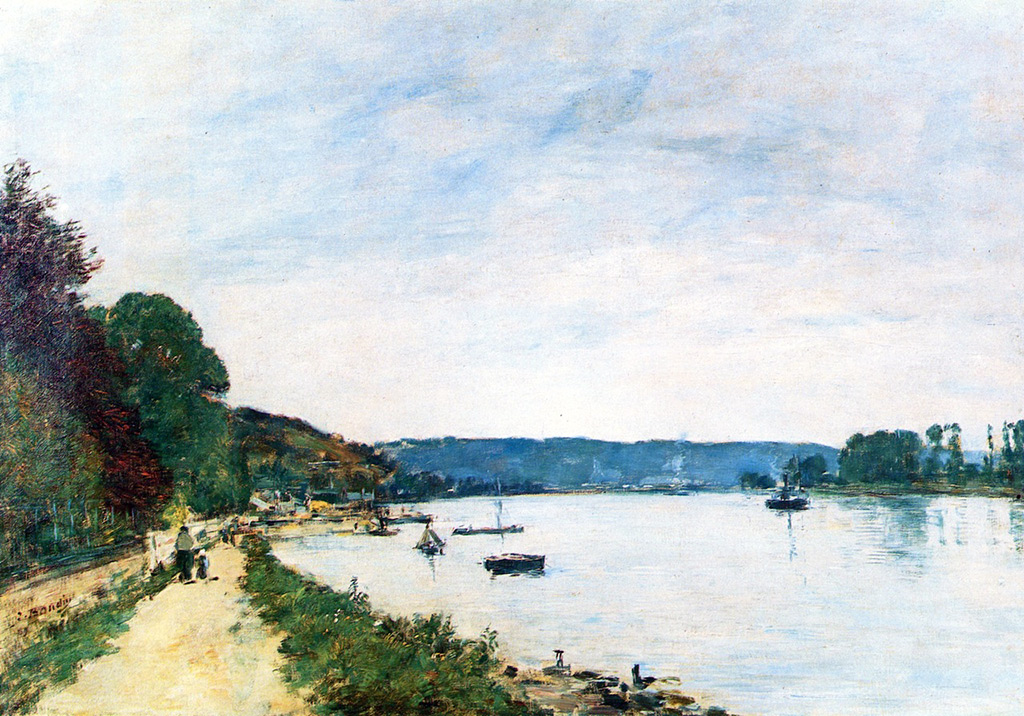 1889 - Eugene Louis Boudin - The Banks of the Seine at Caudebec-en-Caux