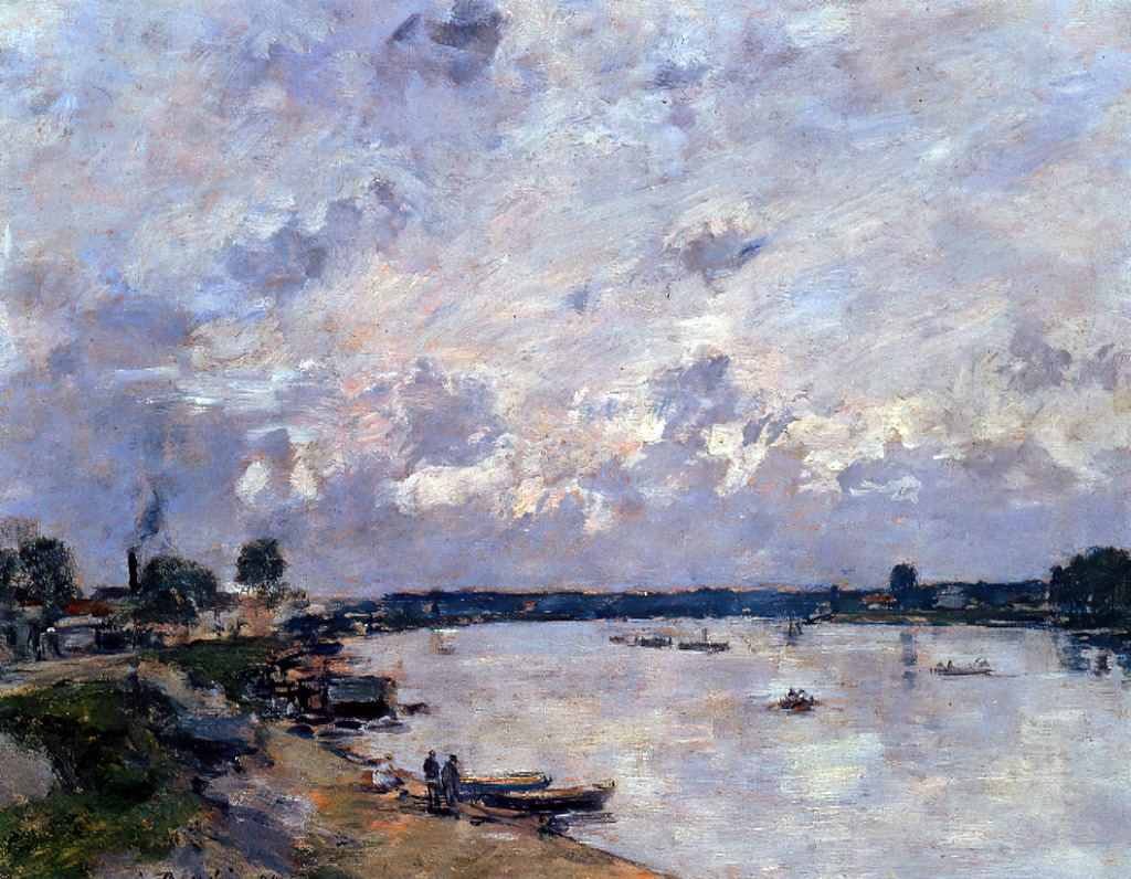 1890 - Eugene Louis Boudin - The Banks of the Seine at Caudebec-en-Caux