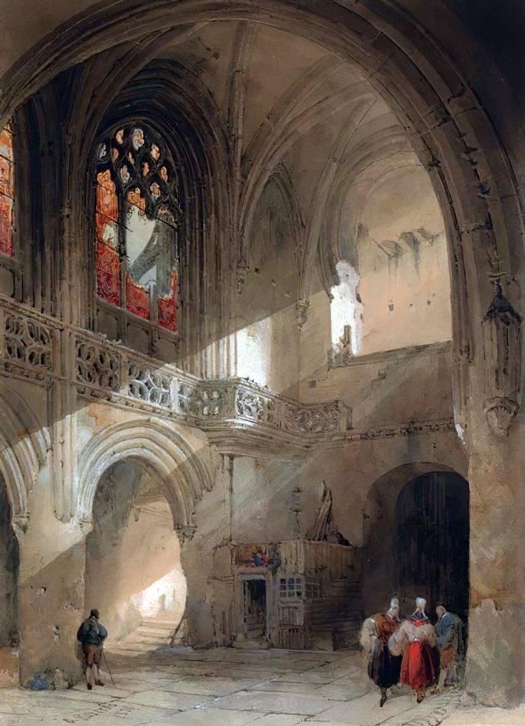 1830 - David Roberts - Interior of the church of St.-Saveur, Caen