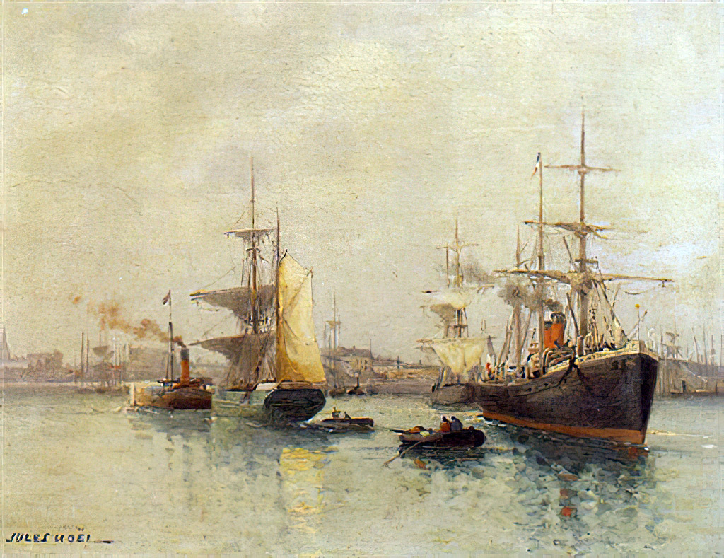 Sailboats in the harbor of Le Havre