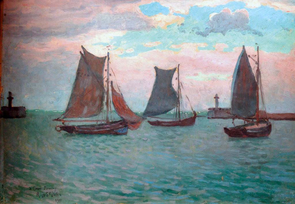 1911 Rene de Saint-Delis - Sailboats at Le Havre