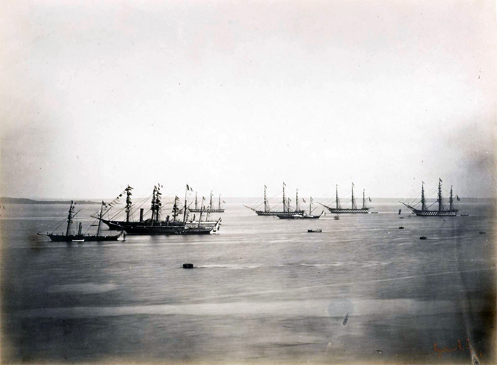 1858 - Le Gary - The French and English Fleets, Cherbourg