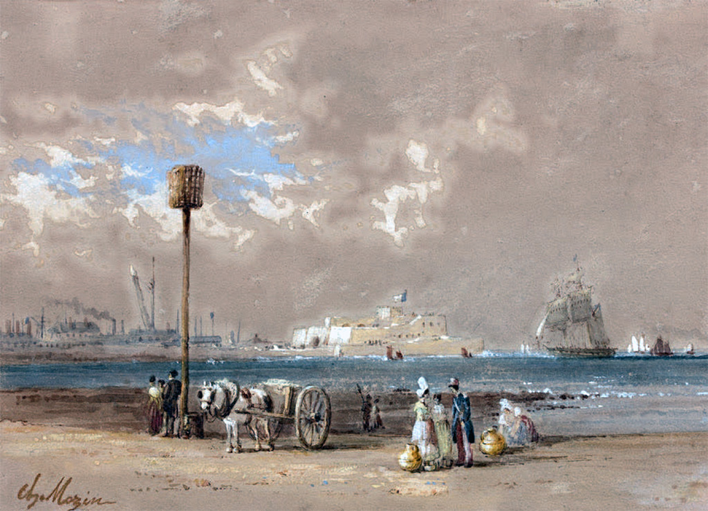 ???? - Charles Louis Mozin - Cherbourg, view of the fort
