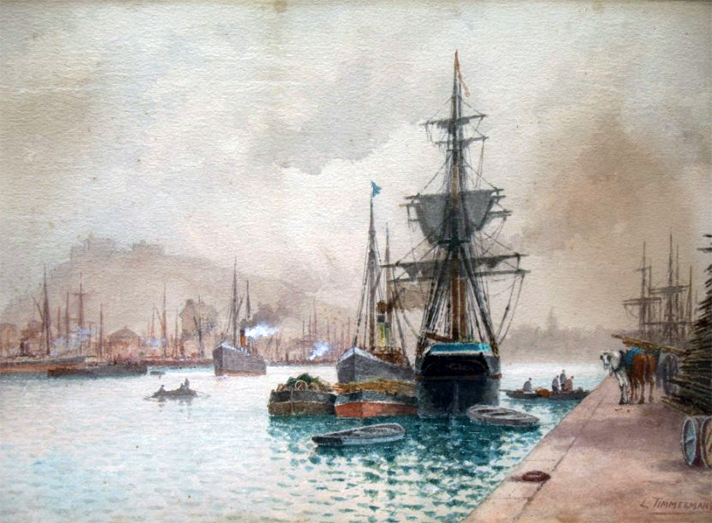 1892 - Louis-Etienne Timmermans - Boats at docks, Cherbourg