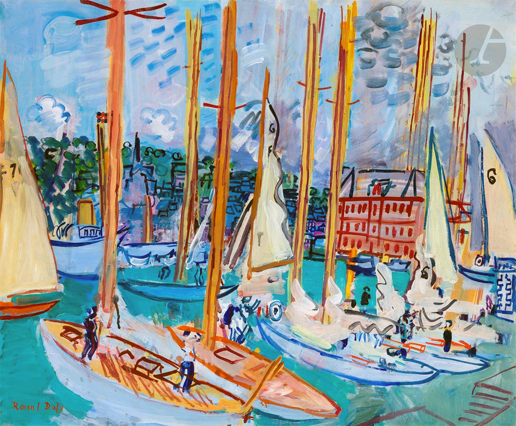 1935- Raoul Dufy - Sailboats in the Harbour of Deauville