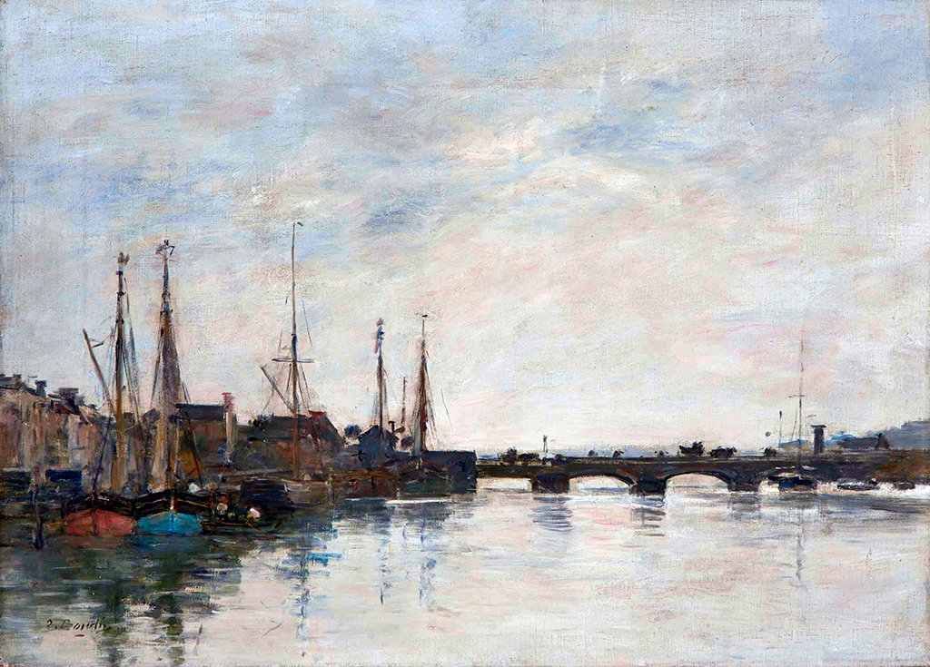 1888 - Eugene Louis Boudin - The Touques. The Deauville bridge in the morning
