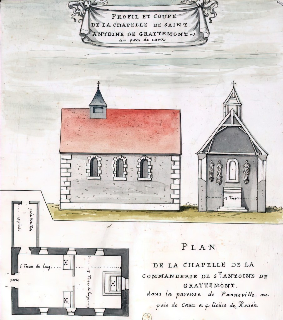 1702 - Louis Boudan - Profile and section of the chapel of Saint Antoine de Grattemont, in the parish of Panneville in the Pays de Caux 4 leagues from Rouen