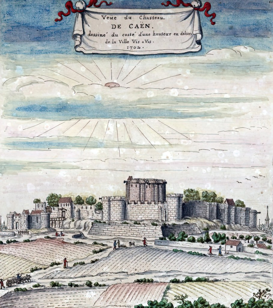 1702 - Louis Boudan - View of the castle of Caen, drawn from the side from a height outside the city