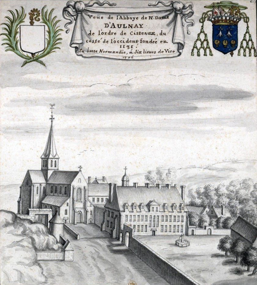 1706 - Louis Boudan - View of the Abbey of N. Dame D'Aulnay, of the order of Cisteaux, from the west side, founded in 1131 in Lower Normandy, six leagues from Vire
