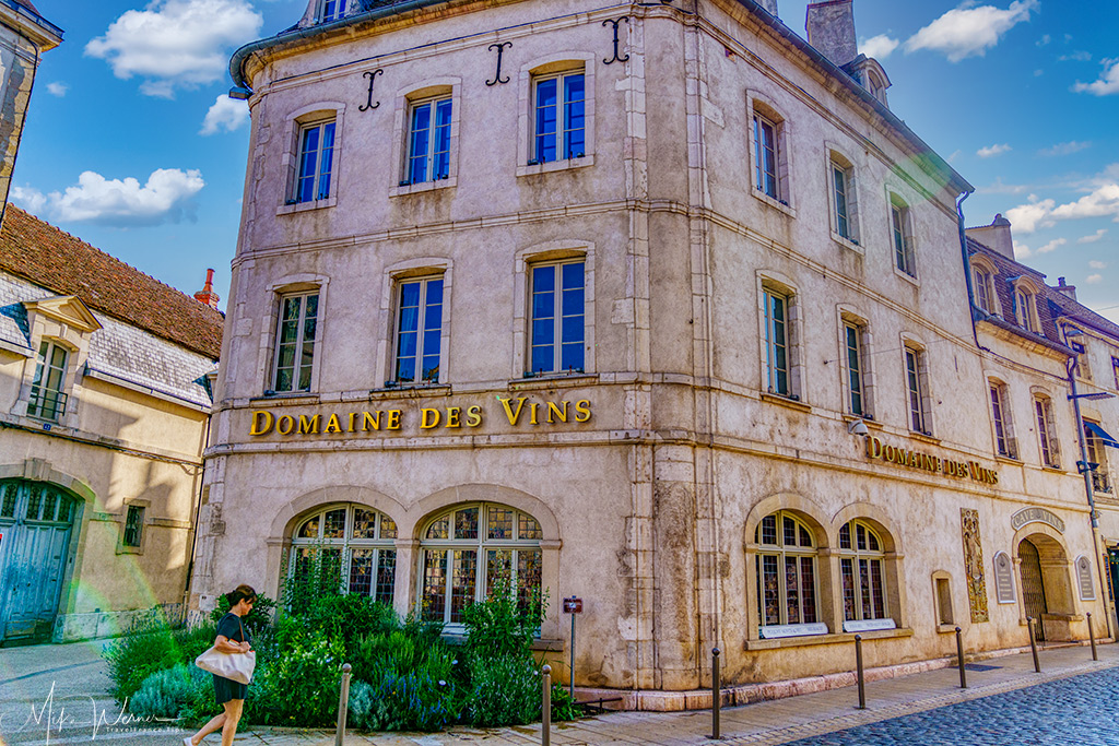Beaune Burgundy wine shop representing different domains.