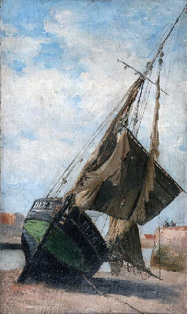 ????- Frank Myers Boggs - Fishing boat aground in the port of Dieppe