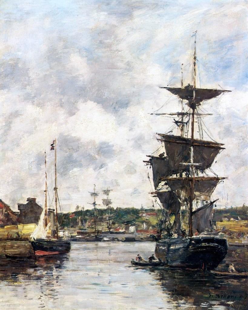 1896 - Eugene Louis Boudin - Dieppe, Anchored Sail Ships