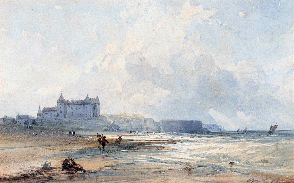 ???? - William Callow - The chateau at Dieppe, from the beach, looking West