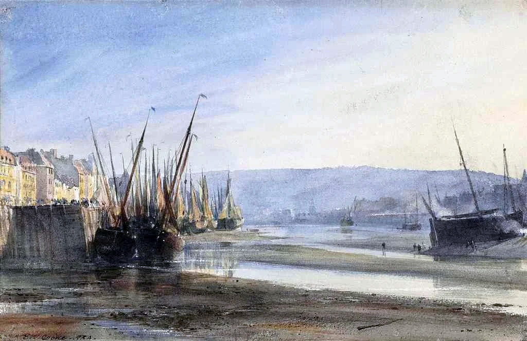 ???? - Edward William Cooke - Boats moored at Dieppe Harbour- low tide