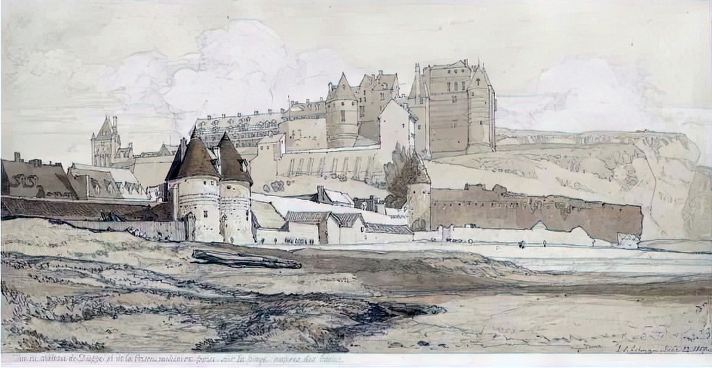 1817 - John Sell Cotman - The-Chateau of Dieppe and the Prison, Normandy, seen from the beach