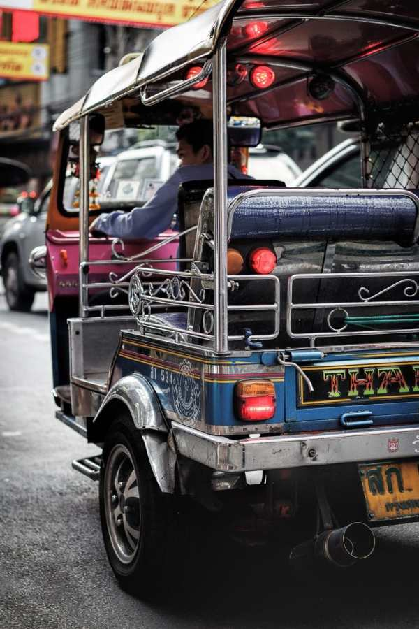 Riding in a tuk-tuk in Bangkok