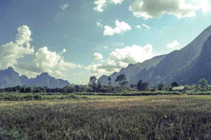 Moutains and fields beyond Vang Vieng